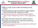why should health s ervice delivery programs address gbv