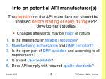 info on potential api manufacturer s
