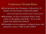 conference ground rules