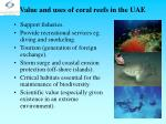 value and uses of coral reefs in the uae