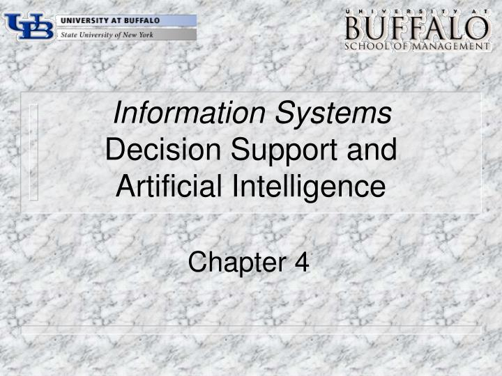 information systems decision support and artificial intelligence n.