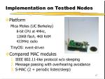 implementation on testbed nodes
