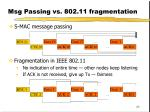 msg passing vs 802 11 fragmentation