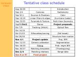 tentative class schedule