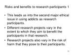 risks and benefits to research participants 1