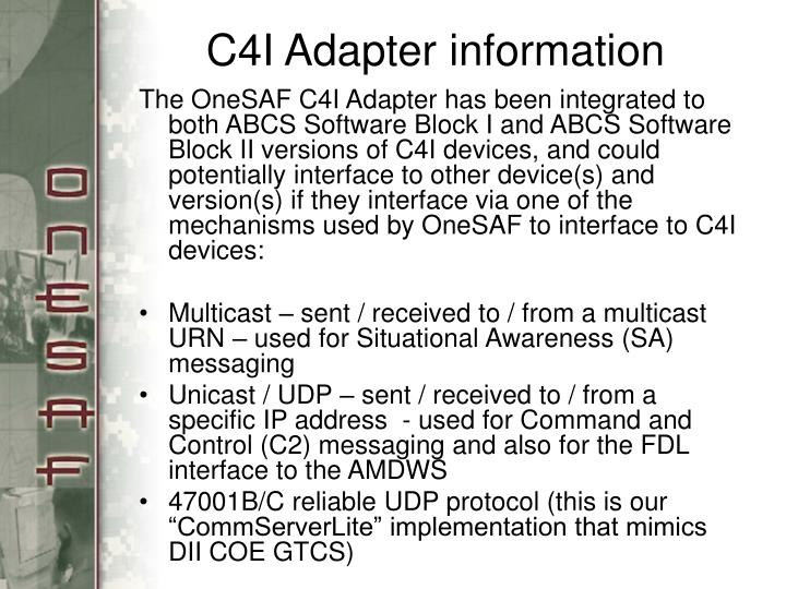 C4I Adapter information