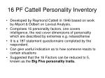 16 pf cattell personality inventory