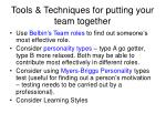 tools techniques for putting your team together