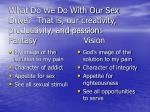what do we do with our sex drive that is our creativity productivity and passion fantasy vision