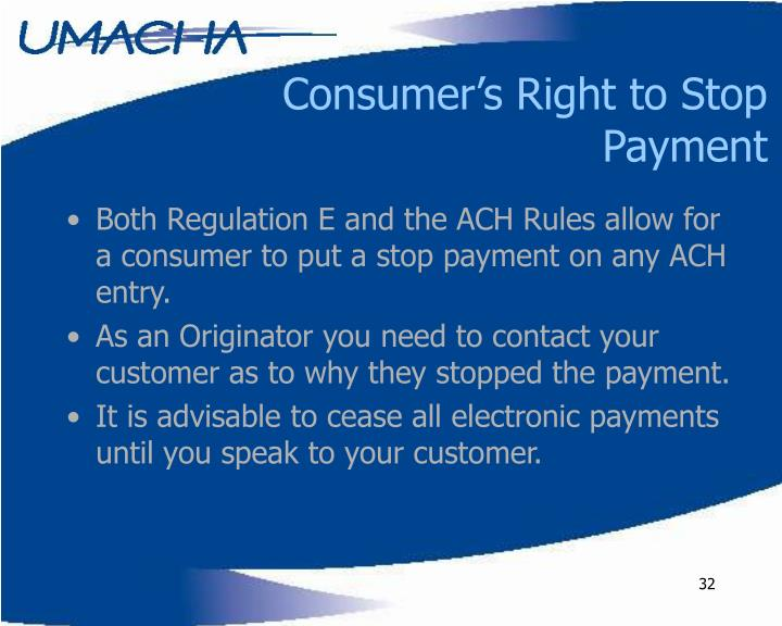 Consumer's Right to Stop Payment