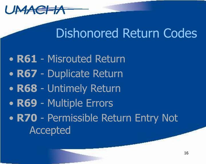 Dishonored Return Codes