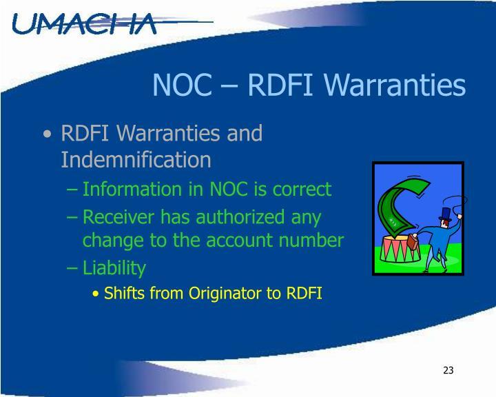 NOC – RDFI Warranties