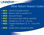 other return reason codes