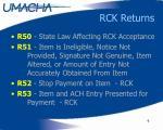 rck returns