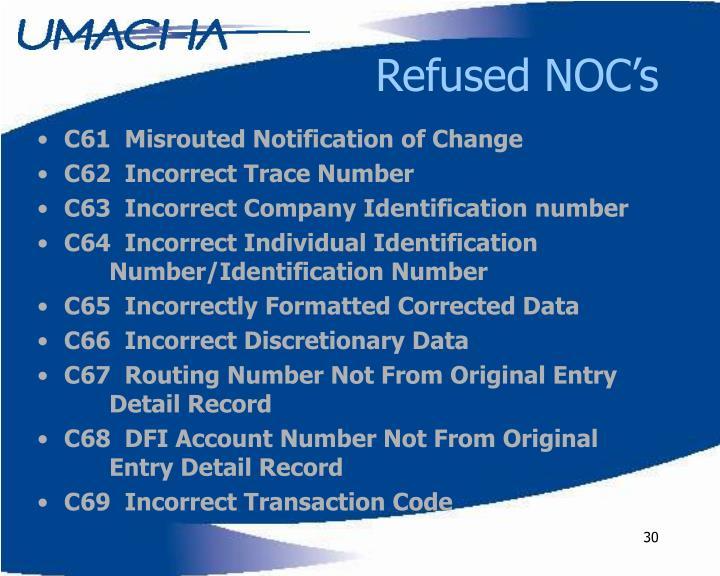 Refused NOC's