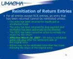 reinitiation of return entries