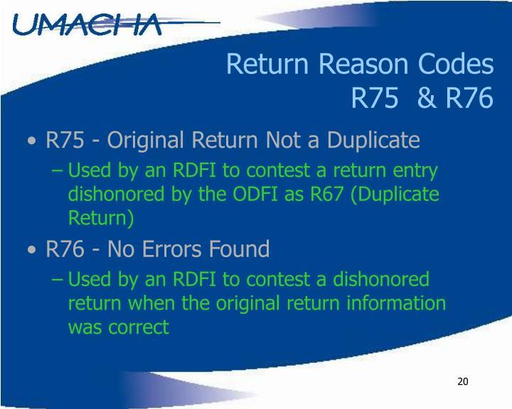 Return Reason Codes