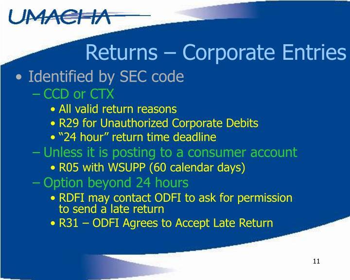 Returns – Corporate Entries