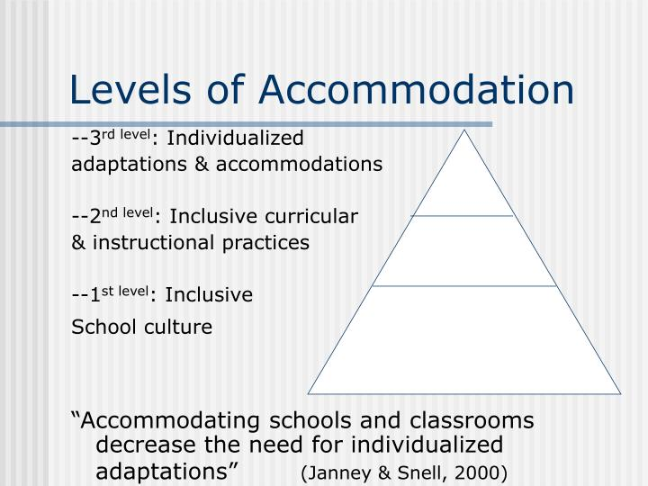 Levels of Accommodation