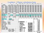 logsheet charge calculation form