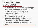 i fatti artistici e culturali