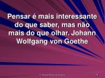 pensar mais interessante do que saber mas n o mais do que olhar johann wolfgang von goethe