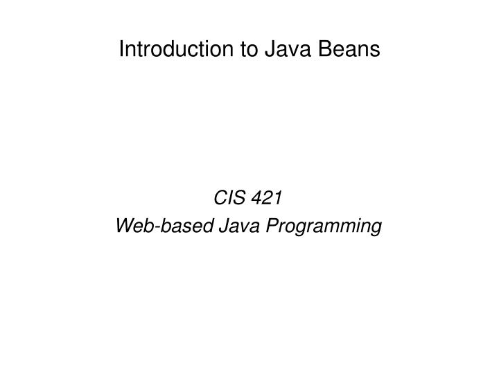 introduction to java beans n.