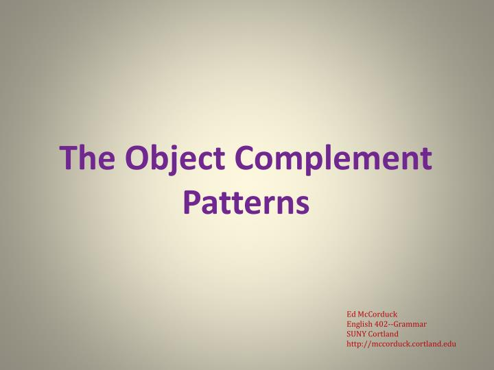 the object complement patterns n.