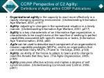 ccrp perspective of c2 agility definitions of agility within ccrp publications