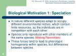 biological motivation 1 speciation
