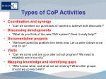 types of cop activities1