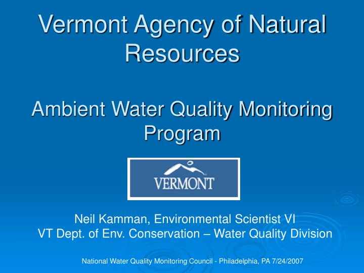 vermont agency of natural resources ambient water quality monitoring program n.