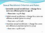 sexual recidivism criterion and rates