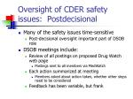 oversight of cder safety issues postdecisional