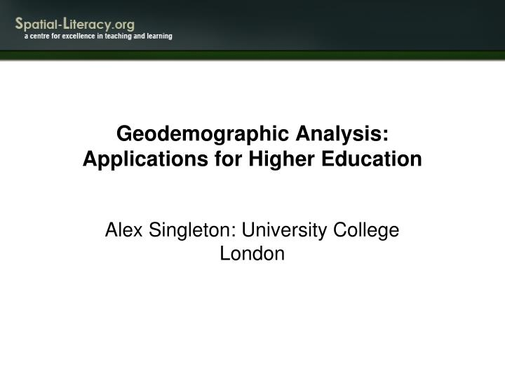 geodemographic analysis applications for higher education n.