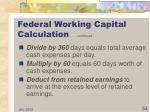 federal working capital calculation continued