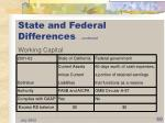 state and federal differences continued
