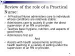 review of the role of a practical nurse
