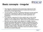 basic concepts irregular