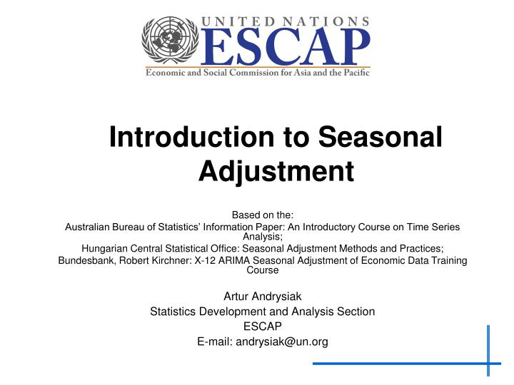 introduction to seasonal adjustment n.