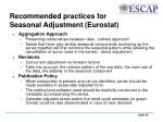 recommended practices for seasonal adjustment eurostat