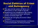 social patterns of crime and delinquency