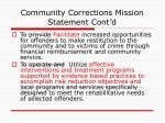 community corrections mission statement cont d