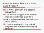 evidence based practice what does it mean