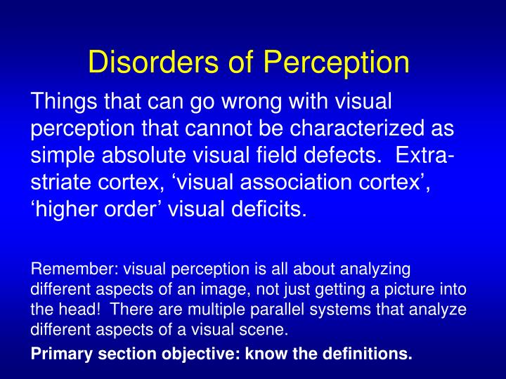 disorders of perception n.
