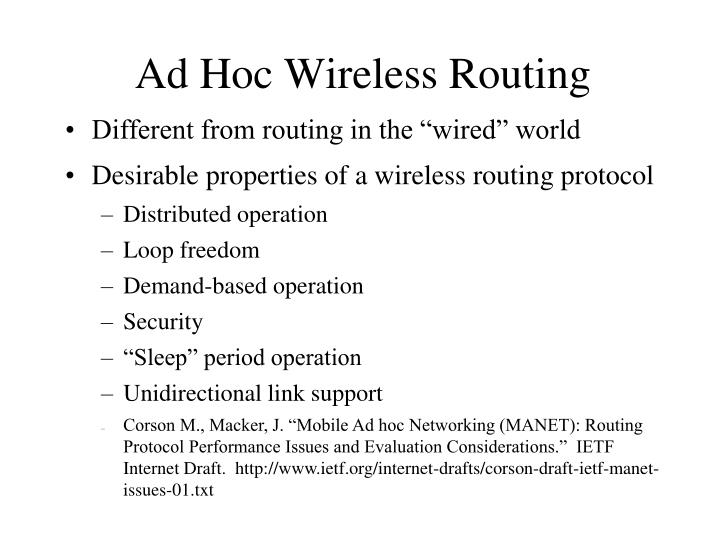 ad hoc wireless routing n.