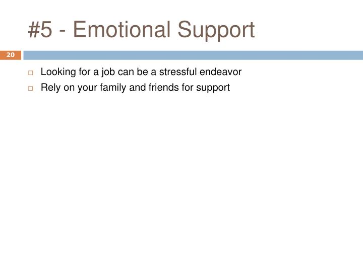 #5 - Emotional Support