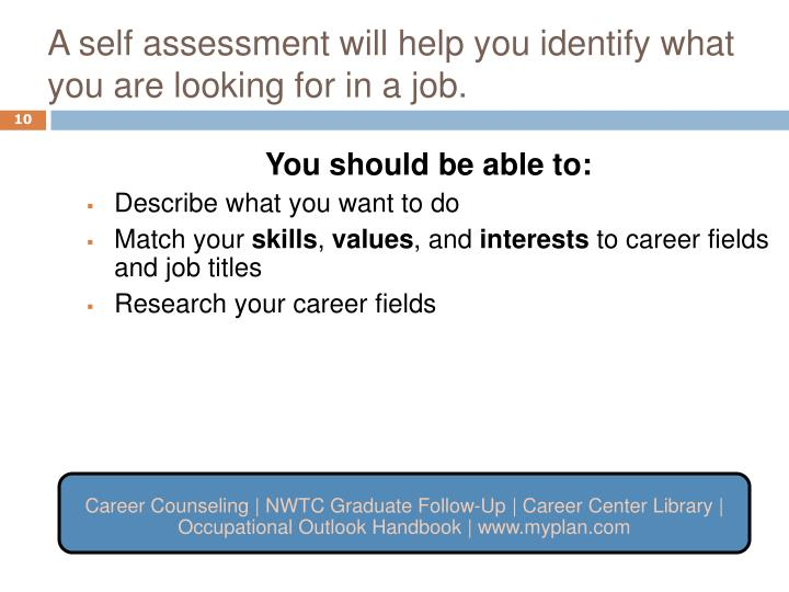 A self assessment will help you identify what you are looking for in a job.