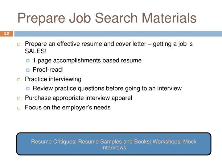 Prepare Job Search Materials