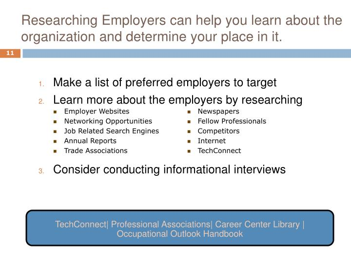 Researching Employers can help you learn about the organization and determine your place in it.